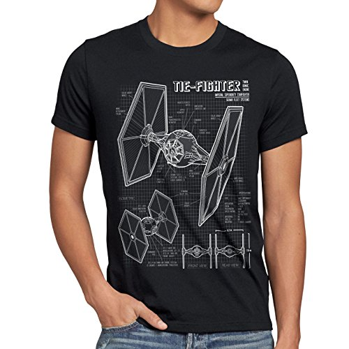 A.N.T. TIE Jäger Herren T-Shirt Blaupause Fighter, Größe:XL, Farbe:Schwarz -