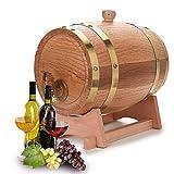 XWDQ Botte di Vino 1.5L,3L,5L,10L Legno Botti di Rovere in Legno per Birra Whisky Rum Bucket Brewage Hotel Exhibition Display,Brass,3L