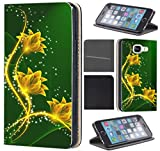 Samsung Galaxy S4/S4 Neo Hülle von CoverHeld Premium Flipcover Hülle Samsung S4/S4 Neo aus Kunstleder Flip Case Motiv (1434 Blumen Gelb Grün Abstract)