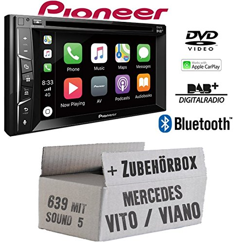 Autoradio Radio Pioneer AVH-Z3100DAB - 2-DIN Bluetooth | DAB+ | MP3 | USB | Android | Apple CarPlay Einbauzubehör - Einbauset für Mercedes Vito/Viano 639 - JUST SOUND best choice for caraudio