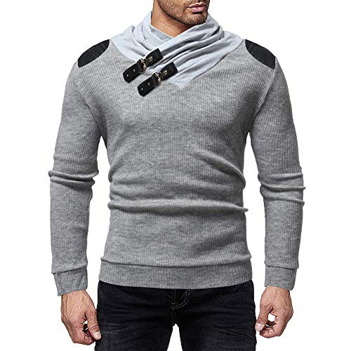 Winter Casual Leder Patchwork Langarm Strickpullover Top Bluse (M, Grau) ()