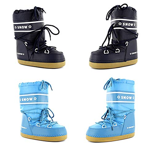 SNOW Kinder Snowboots, Schneestiefel, Moonboots Gr. 21-38 Thermo Boots Winterstiefel (36/38, Dunkelblau)