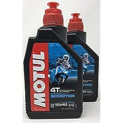 MOTUL Aceite Moto Mineral 4 Tiempos Scooter 4T 10W-40, 2 litros (2X 1 lt)