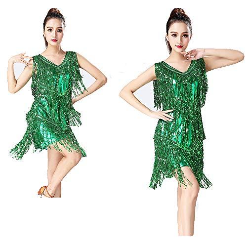 Frauen Dancewear Metallic Pailletten Fransen Quasten Ballsaal Samba Tango Latin Dance Dress Wettbewerb Kostüme Swing Rumba Kleid Frauenkleidungs-Outfits für Erwachsene ( Farbe : Grün , Größe : XXL (Kostüm Im Tango Tanz)