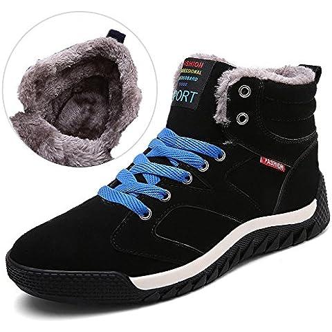 SITAILE Hombre Otoño Invierno Botines Calentar Botas De Nieve Anti-deslizante Lazada Zapatos Botas de