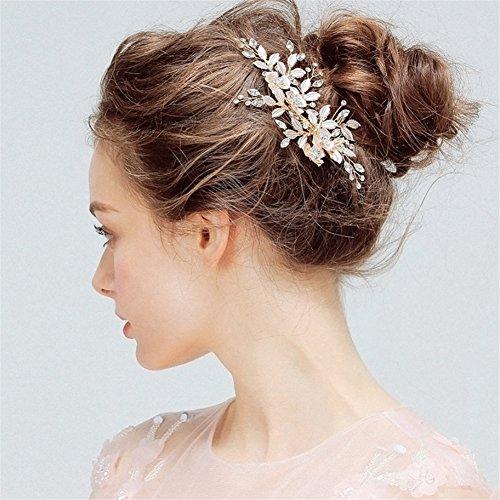 QIAO Strass Haarnadel Haarband Haarschmuck Braut Haarschmuck Hochzeit Blumen - Krepp-platten