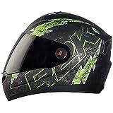Steelbird SBA-1 R2K LIVE Full Face Helmet in Matt Finish with Smoke Visor (Large 600 MM, Matt Black/Green)