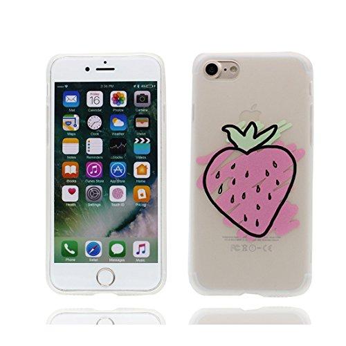 Custodia iPhone 7, Silicone trasparente iPhone 7 copertura Shell Protezione molle sottile del silicone TPU Cover Case Per iPhone 7 4.7 / hamburger fragola Color - 3