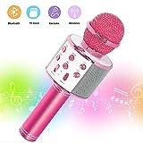 SaponinTree Micrófono Karaoke Bluetooth, 3 en1 Microfono Inalámbrico Karaoke Portátil para Niños Canta Partido Musica Compatible con Android/iOS PC.