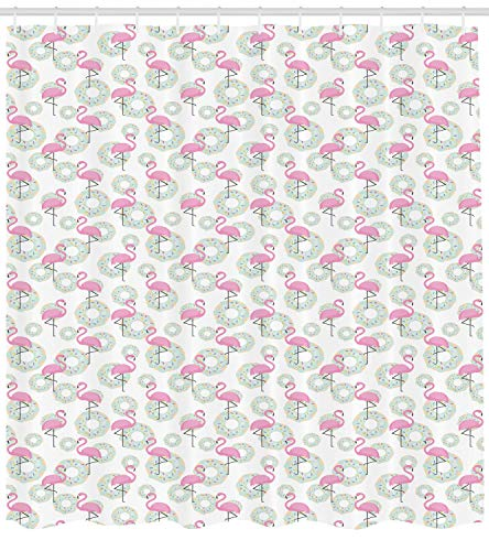 tgyew Flamingo Shower Curtain, Pink Flamingos and Donuts Tropical Hawaiian Animals Delicious Desserts, Fabric Bathroom Decor Set with Hooks, 60 * 72inch Extra Wide, Pink Mint Green Beige -