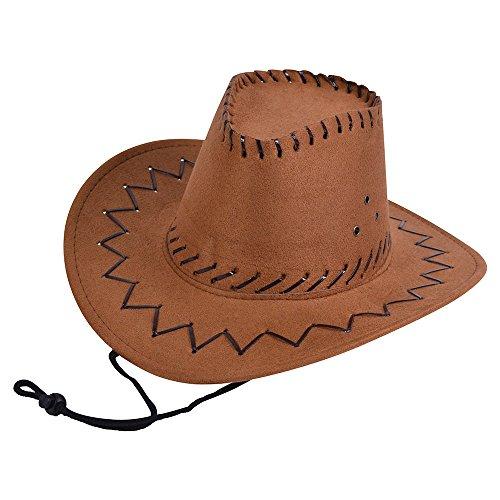 Kostüm Alten Westen Sheriff Kinder - Bristol Novelty BH488, Cowboyhut für Kinder, Leder, genäht, braun, Einheitsgröße.