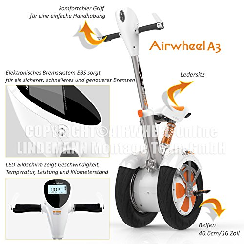 "Kategorie <b>E-Scooter mit Griff / Sitz </b> - city-wheel ""Airwheel A3"" 520 Wh ""Der Komfortable"""