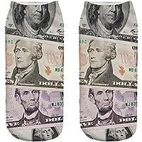 OHlive Suave Zapatillas de Deporte Impresas 3D del dólar de Las Mujeres Calcetines del Tobillo (1 par-MY01-One Size) (Color : MY01, tamaño : Talla única)
