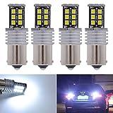Katur 2 lampadine LED ad alta potenza, 800lumen, super luminose, 1156 P21W BA15S 1141 7506 LED Canbus senza errori 15SMD 2835, luci posteriori stop, luci di parcheggio LED DC 12V, colore: bianco