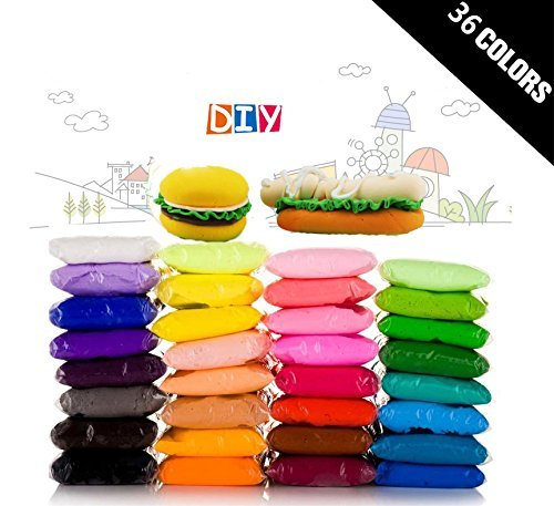 36 Colors TKOnline Colorful Kids Modeling Clay Air Dry Clay Studio Toy 36 Bright Color Ultra Light Modeling Magic Air Dry Clay Crafts Kit with Portable Sand TrayPortable Tray Without Inflator