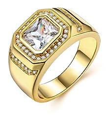 Idea Regalo - Uomo oro anelli di fidanzamento uomini gioielli con placcato oro 18k anniversario fedi nuziali anello a fascia regalo per lui marito
