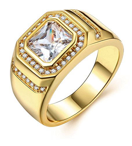 Herren-Ring Gold 18K Vergoldet Männer Schmuck Band Ringe Eheringe Trauringe Hochzeit Engagement Geschenk für Jungen Vater Ehemann