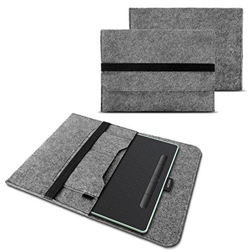 NAUC Sleeve Hülle für Wacom Intuos S Grafiktablett Tasche Stifttablett 10.1 Zoll Cover strapazierfähiger Filz mit Innentaschen und sicherem Verschluss Grau, Farbe:Grau