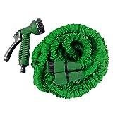 HELO Gartenschlauch Flexi 30 m ausgedehnt (10 m zusammengefaltet), Farbe: Grün - Flexibler Garten Flexischlauch Wasserschlauch mit verstärktem Gewebe inkl. 7 Funktionen Spritzpistole und Schlauch Schnellkupplung