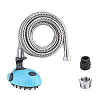 MIU PET Multi-Functional Dog Shower - Bath Massager Handheld Sprayer Shampoo Brush Grooming Tool for Dogs and Cats with 2.4M Stainless Steel Hose, Indoor and Outdoor Use(Blue)