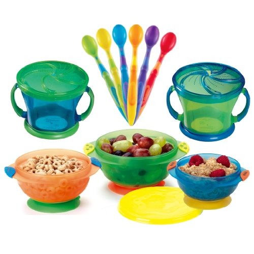 Munchkin Two Snack Catchers With 6 Pack Soft-Tip Infant Spoon & 3 Count Stay Put Suction Bowl 51xbTA1GrKL