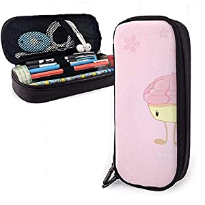 Caja de lápices de cuero rosa PU de dibujos animados, bolsa de bolígrafo de gran capacidad, organizadores de papelería duraderos con doble cremallera 4 cm x 9 cm x 20 cm