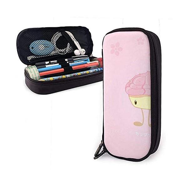 Caja de lápices de cuero rosa PU de dibujos animados, bolsa de bolígrafo de gran capacidad, organizadores de papelería…
