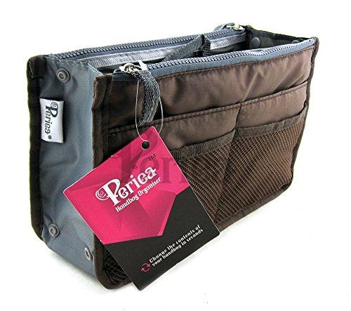 Periea - Organiseur de sac à main, 12 Compartiments - Chelsy (Marron, Moyen: H17.5 x L28 x P2-16cm)