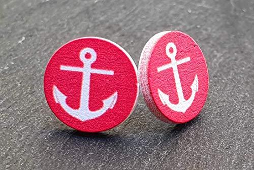 Ohrstecker aus Holz Handgemacht Holzschmuck Damen Anker Maritim Edelstahl Rot Weiß Chirurgenstahl 12mm Paar