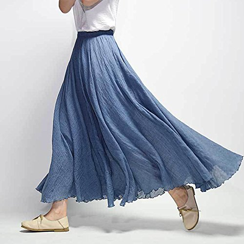 Donna Gonna Lunga Vestito Bohemian Cintola Elastica Lino Cotone Vintage Maxi Gonna Blu
