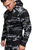Amaci&Sons Herren Cargo-Style Pullover Sweatshirt Hoodie Sweater Camouflage 4003 Camouflage Schwarz M
