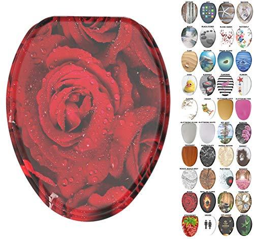 Sanilo länglich WC-Sitz, Breite Auswahl langsam schließender WC-Sitze, geformt Holz, starke Scharniere Rosen (Längliche Wc-sitz Rose)