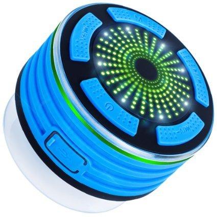 Altavoz Bluetooth ducha con radio FM, altavoz V4.0 Dland impermeable sin hilos de Bluetooth portátil con reproductor de MP3, altavoz y múltiples funciones de luz LED de color