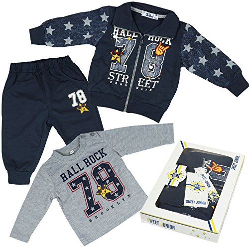 Kinder Baby Jungen Kleidung Paket Geschenk Set 3 tlg Sweat Jake Hose Lang Arm Shirt 21092, Farbe:Blau;Größe:18 (Youtube Minions Kostüm)