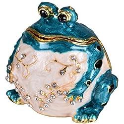 micg hecho a mano azul caja de grasa rana, anillos de boda soporte Animal figura coleccionable mesa centro de mesa Navidad regalo para niña