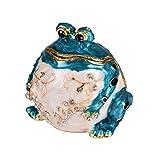 micg Fat blau handgefertigt Frosch Schmuckkästchen Hochzeit Ring Halter Tier