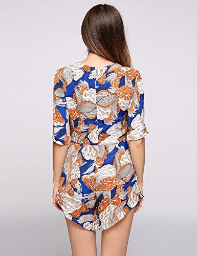 cooshional Combinaison Femme Manteau manches courtes en col rond en caoutchouc imprimé Motif
