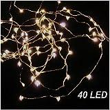 K7plus® LED Lichterkette - 20 / 40 / 100 LED - warmweißes Licht mit Batterie – biegsamer Draht für die perfekte Dekoration (Kette mit 40 LED)