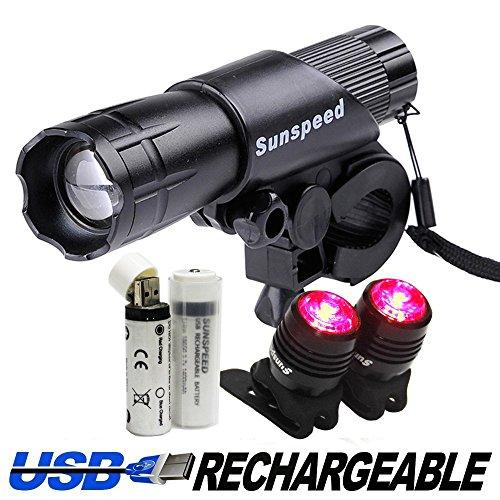 Sunspeed luz bicicleta set juego de impermeable USB recargable – LED linterna frontal brillante y 2 luz linterna de cola puerto USB recargable libre para carreteras, carreras&bicicletas de montaña,- 2 USB batería recargable incluido