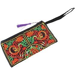TOOGOO(R) Nueva cartera de las mujeres de Bordado Bolso del embrague de telefono movil Monedero - doble dragones