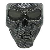 Vhccirt Masque de Protection pour Moto avec Verres polarisés Lunettes Lunettes de Ski Masque d'halloween Masque de tête de Mort, Homme, Black Carbon Fiber
