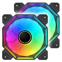 مروحة هيكل كمبيوتر باصدار جديد بفضاء لوني ار جي بي ليد، مروحة تبريد كمبيوتر هادئة للغاية ليد ملونة بـ 5 جوانب، وضع ار جي بي تلقائي دون وحدة تحكم (عبوة من 2)