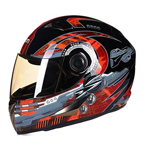 O-Mirechros Moto Fronte Pieno Casco Raod Corsa Equitazione Casco Moto 20 Colori per Gli Uomini Casco del Motociclo Donne I-B-500-Lredblack M
