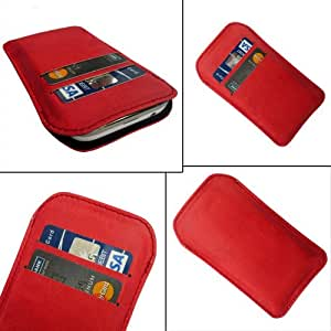 i-KitPit Quality PU Leather Pouch Case Cover For Spice Stellar Virtuoso Pro+ (MI-492) (RED)