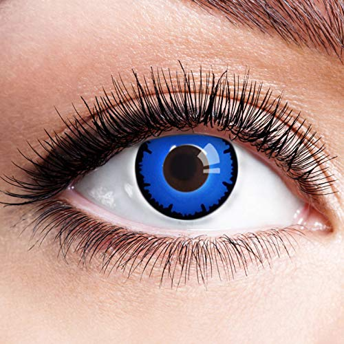 Farbige Kontaktlinsen Blau Ohne Stärke Blaue Crazy Jahreslinsen Motiv-Linsen Farbig Halloween Karneval Fasching Cosplay Kostüm Blue Vampir Zombie Lunatic Werwolf