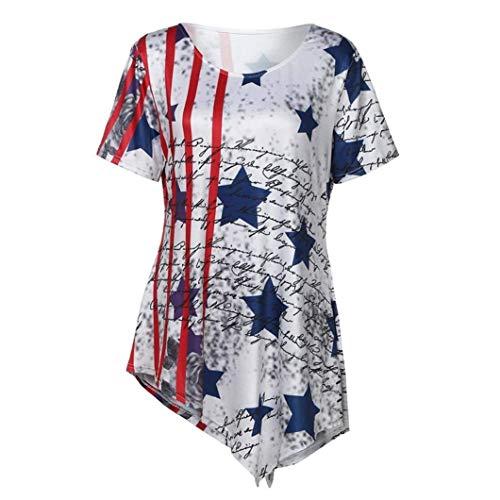 AiBarley Women's Summer Loose Short Sleeve Scoop Neck American Flag Print T-Shirt Tops
