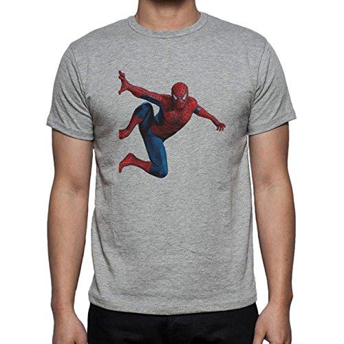Spider Man On A Wall Herren T-Shirt Grau