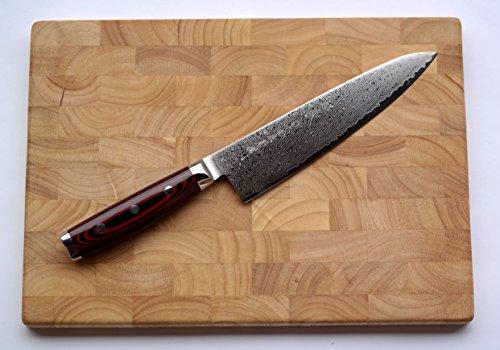 Damastmesser Yaxell SUPER GOU 161 - Kochmesser 20cm Klinge - Schnittkern aus Pulverstahl 63HRC + Schneidbrett (Die Japanische Weiß-stahl-kochmesser)