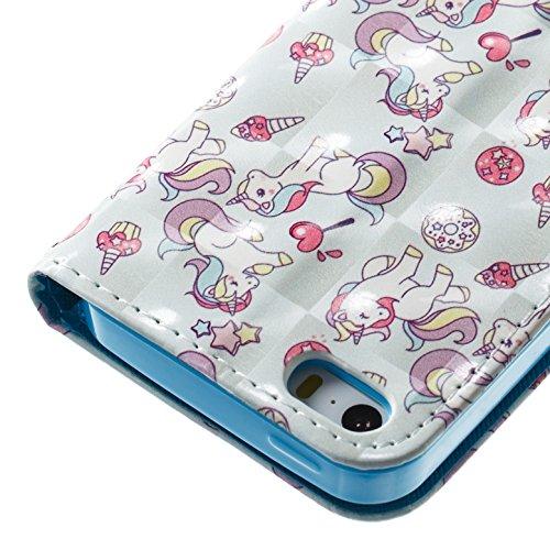 Cover iPhone 6S 6 Pelle, E-Unicorn Cover Custodia Apple iPhone 6S 6 Pelle Unicorno Brillantini 3D Modello Portafoglio PU + TPU Silicone Morbido Bumper Retro Elegante Copertura Protettiva AntiurtoAnti Unicorno Series