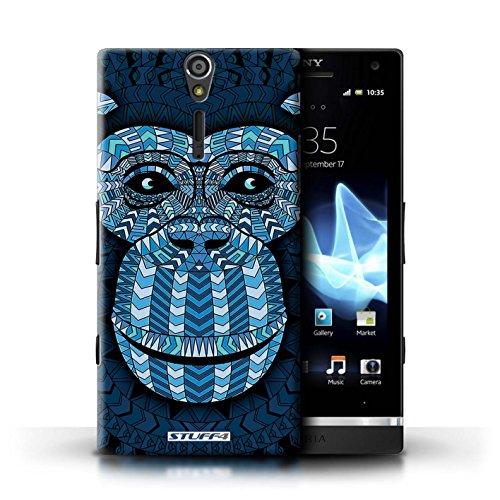 Kobalt® Imprimé Etui / Coque pour Sony Xperia S/LT26i / Loup-Sépia conception / Série Motif Animaux Aztec Singe-Bleu